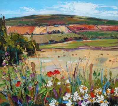 Scottish Artist Judith BRIDGLAND - Flowers in a Hedgerow by Rolling Hills