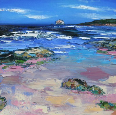Scottish Artist Judith BRIDGLAND - White Caps on the Waves, Bass Rock