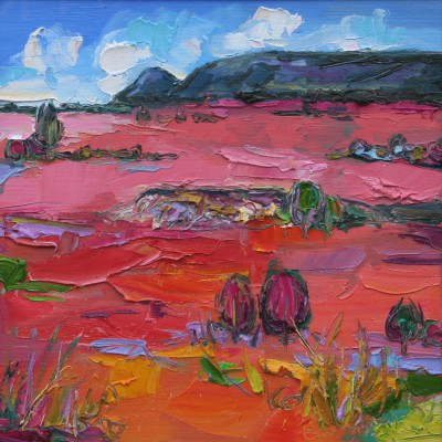 Scottish Artist Judith BRIDGLAND - Pink Grasses in Sunlight, the Campsies