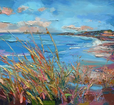 Fidra Lighthouse through Grasses painting by artist Judith BRIDGLAND