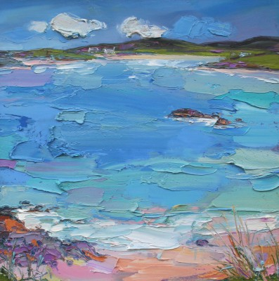 Scottish Artist Judith BRIDGLAND - Distant Cottages, Traigh
