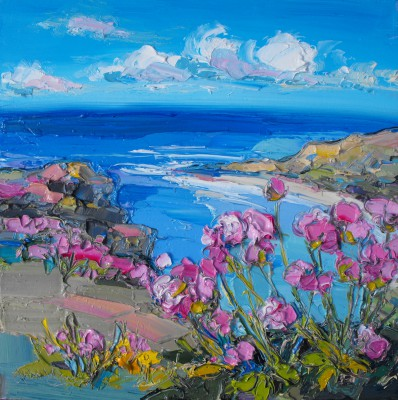 Scottish Artist Judith BRIDGLAND - Sea Pinks at Gullane