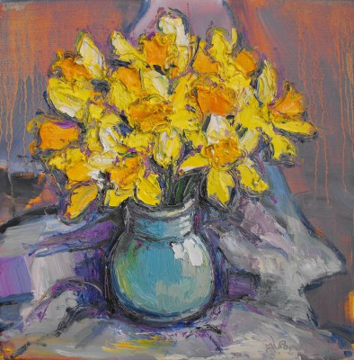 Scottish Artist Judith BRIDGLAND - Daffodils in Govancroft Vase