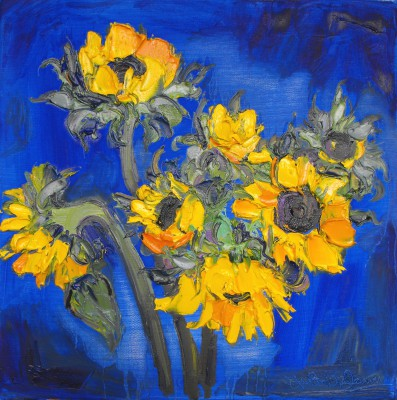 Scottish Artist Judith BRIDGLAND - Group of Sunflowers on Blue