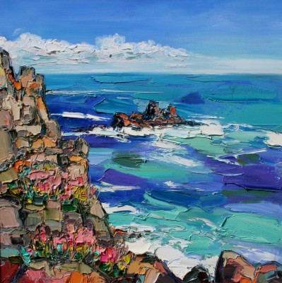 Scottish Artist Judith BRIDGLAND - Churning Sea, Land's End