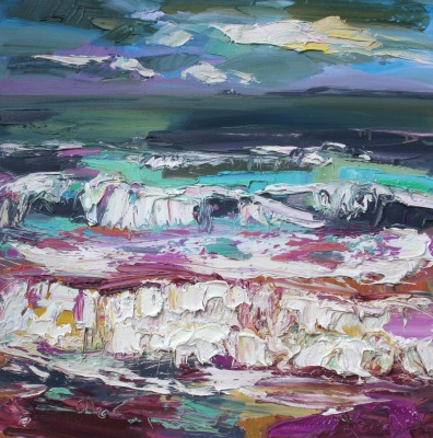 Scottish Artist Judith BRIDGLAND - Dark Clouds, Porthminster Beach, St Ives