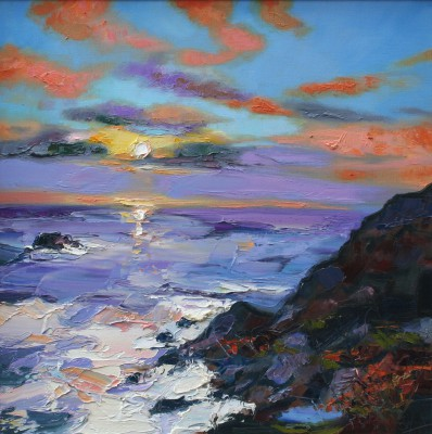 Scottish Artist Judith BRIDGLAND - Setting Sun, Land's End