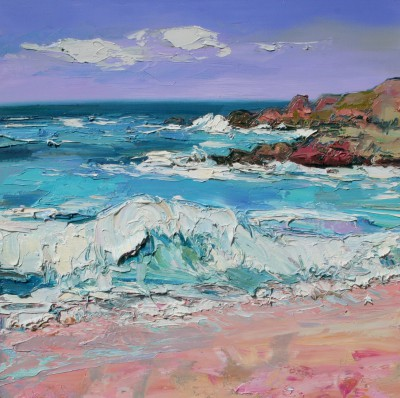 Scottish Artist Judith BRIDGLAND - Storm Waves at Porthmeor Beach, St Ives