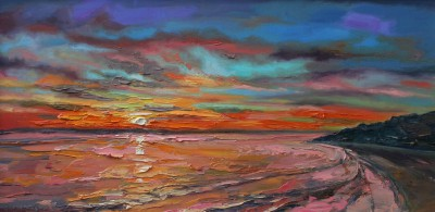 Scottish Artist Judith BRIDGLAND - Dawn over Carbis Bay