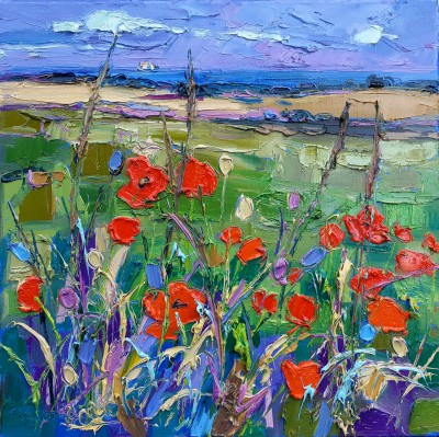 Scottish Artist Judith BRIDGLAND - Distant Sea Beyond Poppy Field
