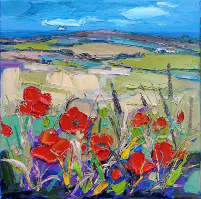 Scottish Artist Judith BRIDGLAND - Bass Rock Across Poppy Fields
