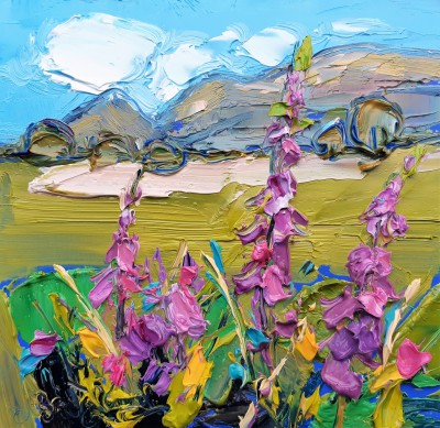Scottish Artist Judith BRIDGLAND - Foxgloves, Looking Towards the Campsies