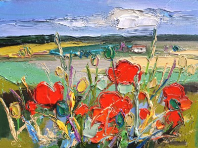 Judith BRIDGLAND - Poppies with Distant Cottage