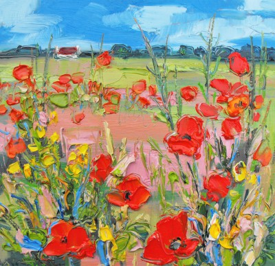 Scottish Artist Judith BRIDGLAND - Poppies with Yellow Flowers, Longniddry
