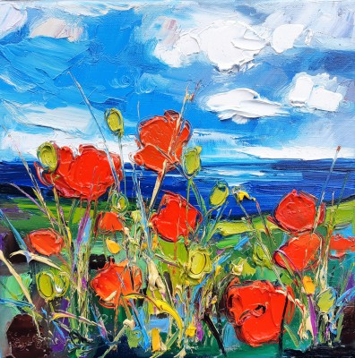 Scottish Artist Judith BRIDGLAND - Poppies by the Sea