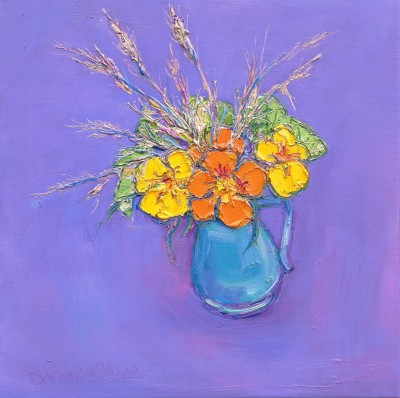 Scottish Artist Judith BRIDGLAND - Nasturtiums and Grasses
