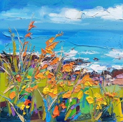 Scottish Artist Judith BRIDGLAND - Montbretia on the Shoreline