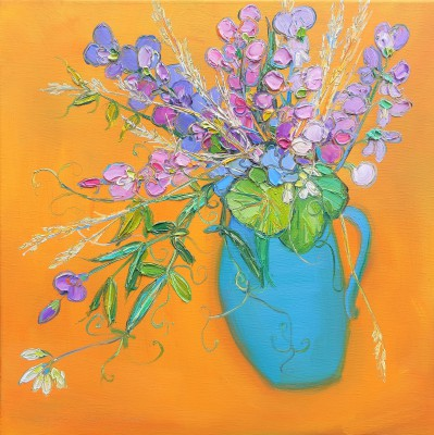 Scottish Artist Judith BRIDGLAND - Sweetpeas, Nasturtium Leaves and Grasses