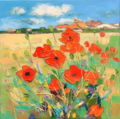 Scottish Artist Judith BRIDGLAND - Poppies by the Road to Tantallon Castle