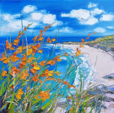 Scottish Artist Judith BRIDGLAND - Beach at Gullane through Montbretia