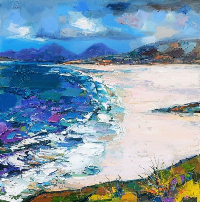 Scottish Artist Judith BRIDGLAND - Waves Breaking on Seilebost Beach, Harris