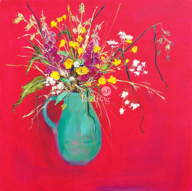 Judith BRIDGLAND - Foxgloves and Buttercups in Green Vase