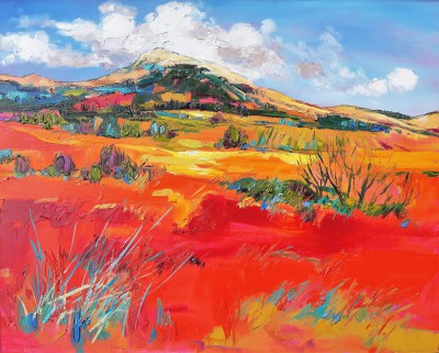 Scottish Artist Judith BRIDGLAND - Sunlight on Red Fields, Argyll