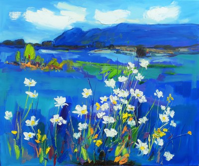 Scottish Artist Judith BRIDGLAND - Campsie Fells with White Daisies