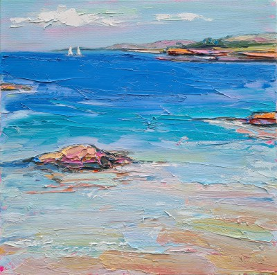 Scottish Artist Judith BRIDGLAND - Distant Yachts from the Edge of the Water