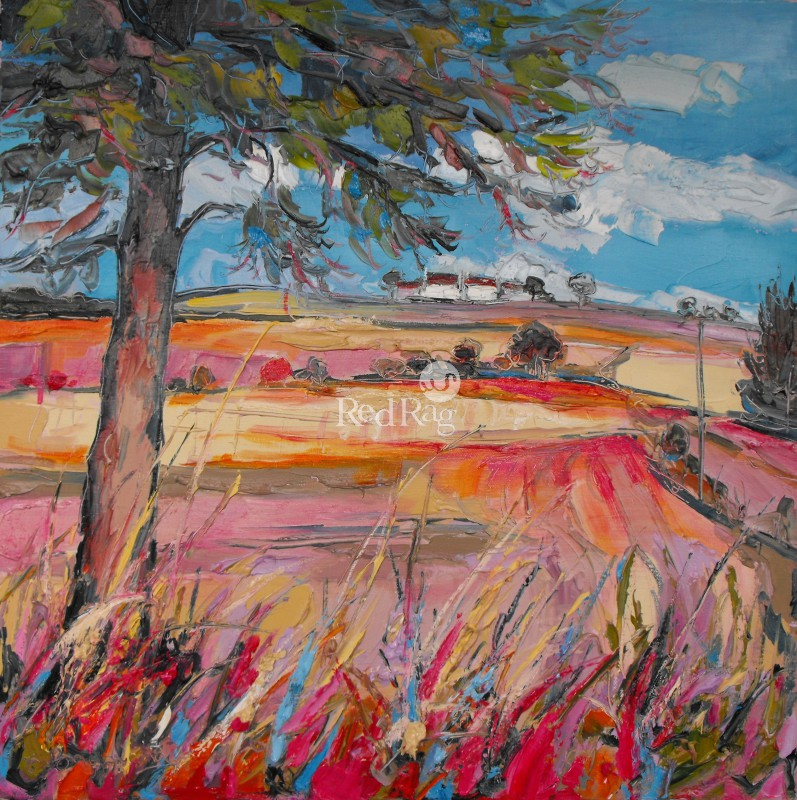 Judith BRIDGLAND - Distant Cottage and Fields, Fife