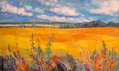 Scottish Artist Judith BRIDGLAND - Fields at Harvest, East Linton