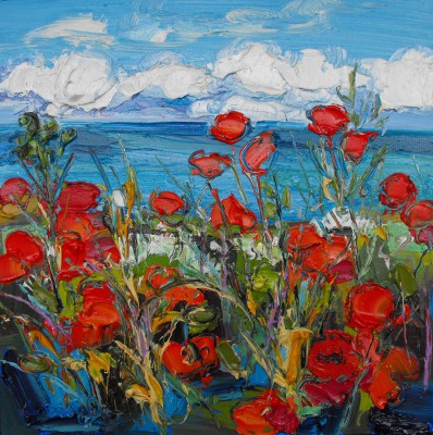 'Poppy Fields by the Sea' painting