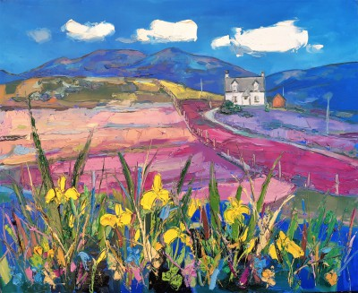 Scottish Artist Judith BRIDGLAND - Wild Irises on the Golden Road