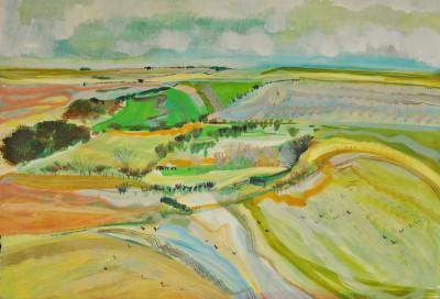 Above the Langfords, Salisbury Plain painting by artist Katherine SWINFEN EADY