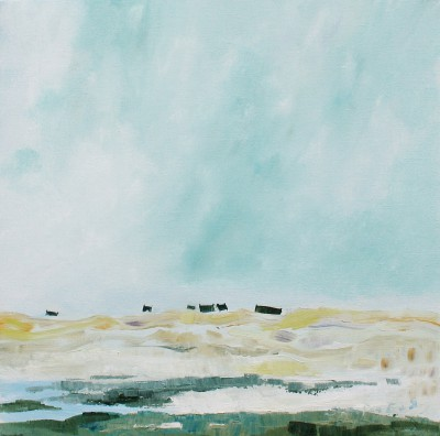 Roof Tops in Sand Dunes, Ardnamurchan painting by artist Katherine SWINFEN EADY