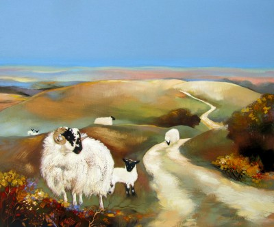 Scottish Artist Lesley McLAREN - Blackies on the Moor