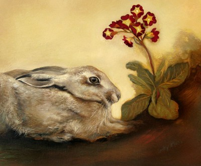 Scottish Artist Lesley McLAREN - Hare and Primula