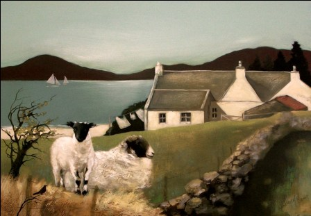 Scottish Artist Lesley McLAREN - Blackie ewe and Her Lamb