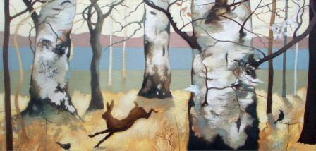 Lesley McLAREN - Barn Owl and Birches