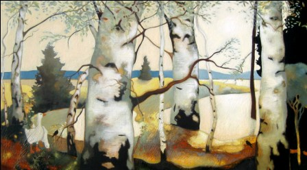 Scottish Artist Lesley McLAREN - Geese in Birch Wood