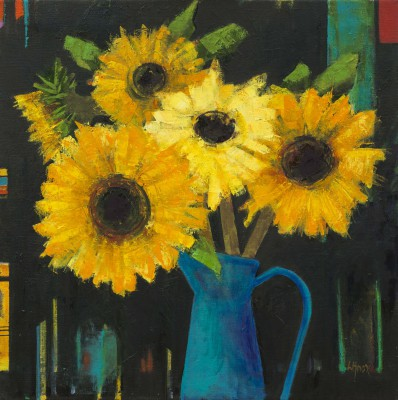 Scottish Artist Liz KNOX - Late Sunflowers