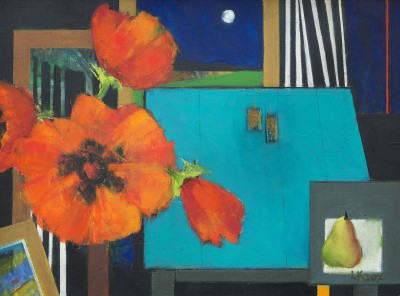 Scottish Artist Liz KNOX - Poppies, Pear, Moon