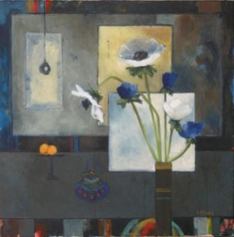 Scottish Artist Liz KNOX - Blue Bag and Oranges