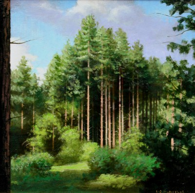 Scottish Artist Louis S McNALLY - Woodland Morayshire