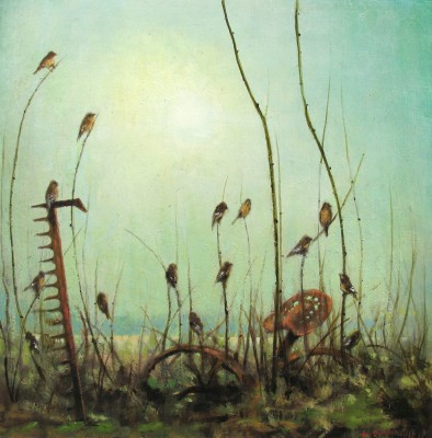 Fifteen Finches painting by artist Louis S McNALLY