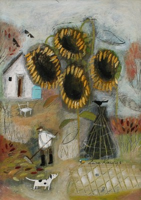 'Last of the Sunflowers' painting