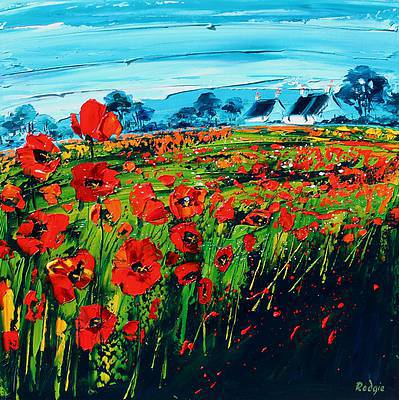 Scottish Artist Lynn RODGIE - Crimson Poppies