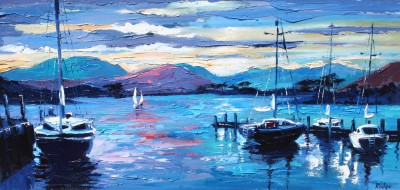 Scottish Artist Lynn RODGIE - Sailboats at Sunset