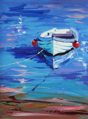 Scottish Artist Lynn RODGIE - Rowing Boat in the Bay