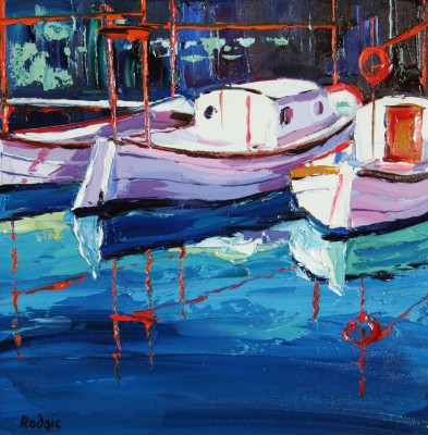 Scottish Artist Lynn RODGIE - Majorcan Fishing Boats